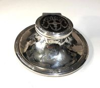 large antique silver and tortoiseshell lid ink well measures approx 12.5cm dia worn hallmarks and
