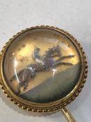 Fine Antique Victorian 15ct gold race horse intaglio Essex crystal stick pin c1890 head measure