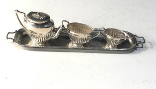 Miniature silver tea service and hallmarked silver tray tea set is halmarked 925 the tray full