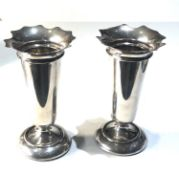Pair of silver flower vases each measure approx 14.5cm weighted bases total weight 368g Birmingham