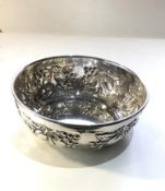 Italian sterling 925 silver embossed fruit bowl measures approx 18cm dia height 6.8cm weight 250g