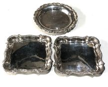 3 small continental silver dishes weight 200g