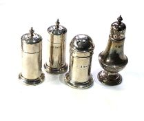 Selection of silver items includes sats and pepper pots
