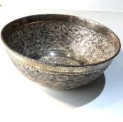 Ornate embossed sterling silver fruit bowl measure approx 19cm dia height 7.5cm weight 280g