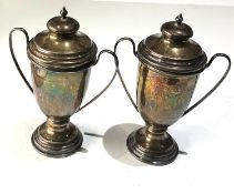 Pair of vintage silver lidded trophy vases weight 127g height 13cm