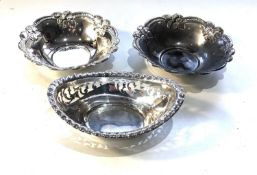 3 continental silver sweet dishes weight 120g