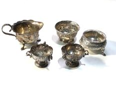 Selection of silver items includes silver salts small cream jug etc