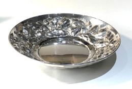 Italian silver embossed bowl measures approx 20cm dia height 3.8cm weight 180g