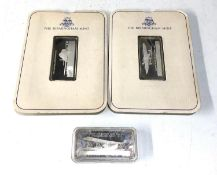 3 hallmarked sterling silver ingots each approx 33.5g
