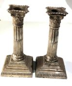 Pair antique silver corinthian column candlesticks london silver hallmarks measure height 18cm