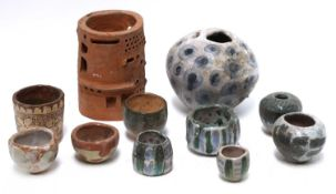 Various items of studio pottery