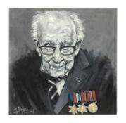 Portrait of Captain Tom Moore oil on canvas