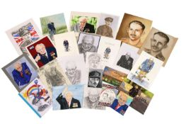 A collection of sketches, prints and photographs of Captain Tom