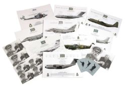 A collection of signed RAF Squadron prints; each aircraft print signed by squadron members...