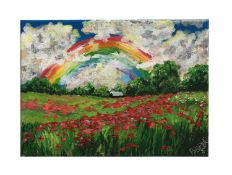 Rainbow, clouds and poppies in a field oil on canvas