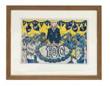 Captain Tom 100 Birthday watercolour