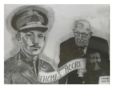 Young and Old Captain Tom pencil drawing and two prints