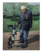 Captain Tom Moore with Walking Frame oil on canvas