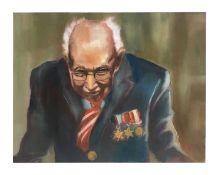 Captain Tom portrait oil on canvas