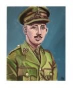 Young Captain Tom in Army uniform oil on canvas
