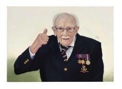 Captain Tom portrait oil on panel