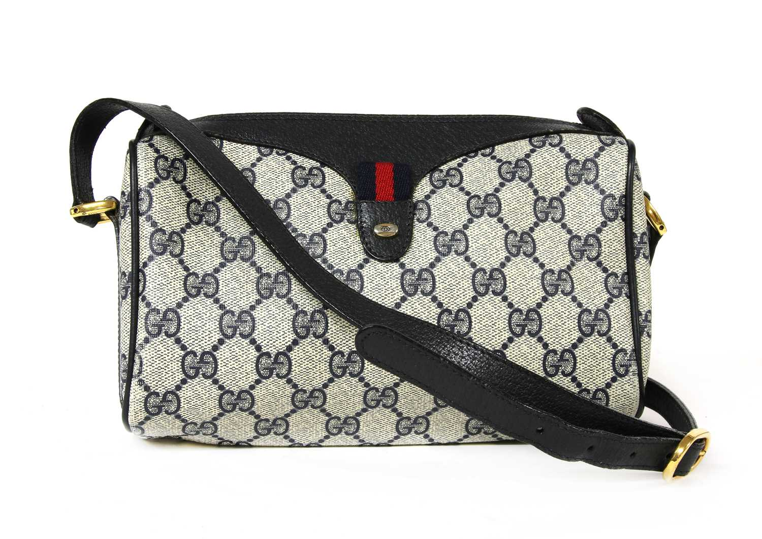 A Gucci Accessory Collection beige coated canvas and blue leather zip shoulder bag - Image 2 of 7