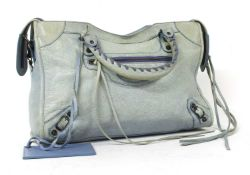 A Balenciaga 'City' light blue shoulder bag,