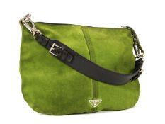 A Prada green suede hobo bag