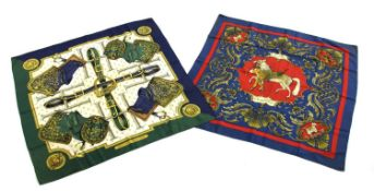 Two Hermès silk scarves