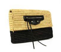 A Balenciaga raffia natural and brown woven canvas clutch,