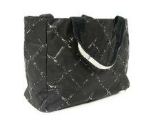 A Chanel black nylon 'Travel Line' shopping tote,