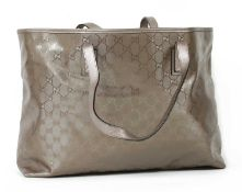 A Gucci metallic lilac coated canvas large tote