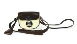 A Ralph Lauren two-tone cream and brown leather crossbody bag,