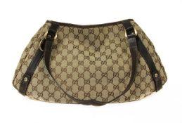 A Gucci beige canvas diagonal line 'Abbey' bag,