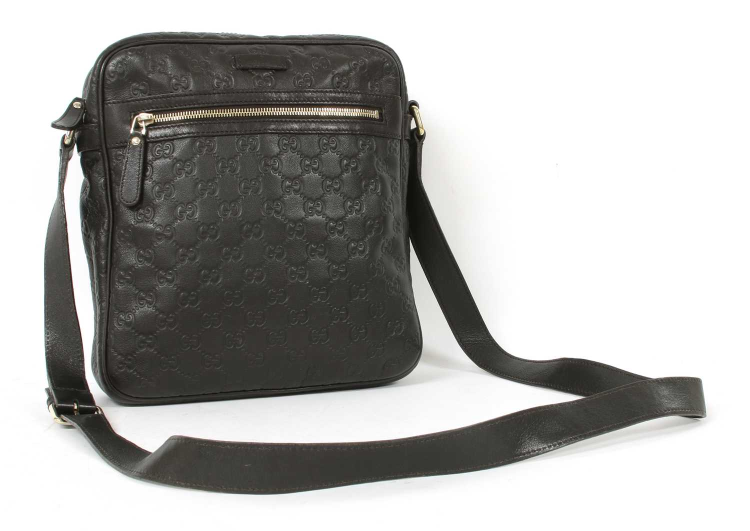 A Gucci black leather crossbody messenger bag
