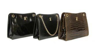 A Cartier black crocodile leather shoulder bag,