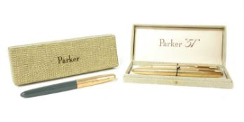 A Parker 51 rolled gold pen and pencil set,