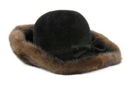 A black felt and brown mink fur ladies' hat,