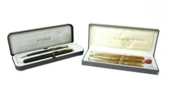 A Parker Sonnet gold-plated pen set,