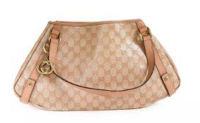 A Gucci pale pink coated canvas 'Abbey' hobo diagonal line shoulder bag,