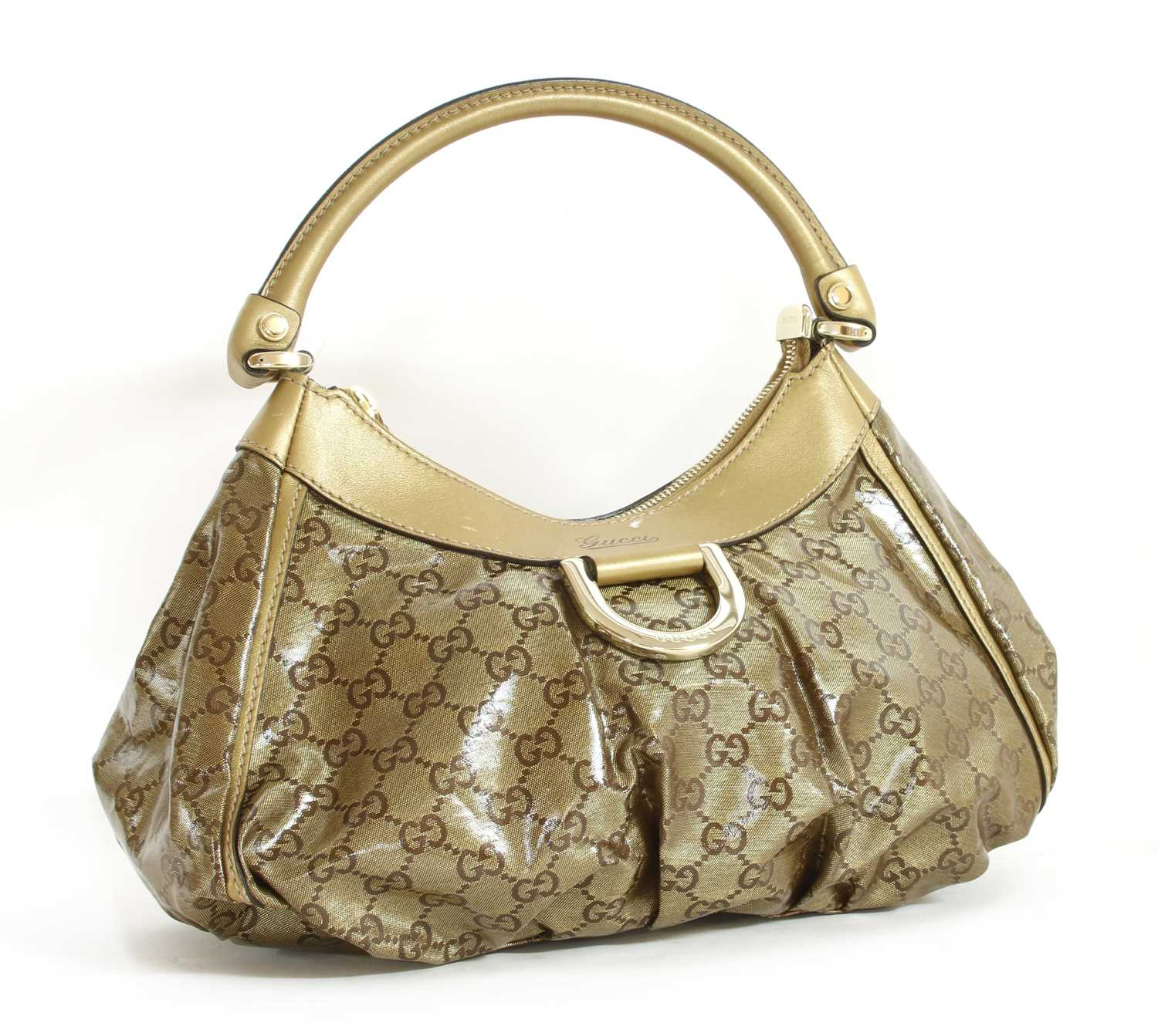 A Gucci gold crystal coated canvas D-ring hobo bag,