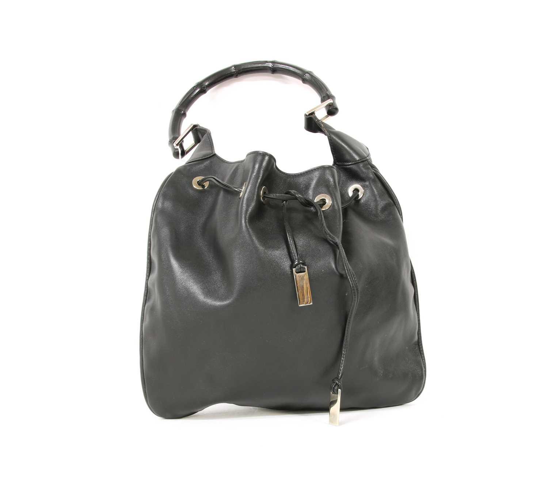 A Gucci black leather shoulder bag