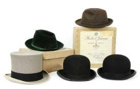 A Herbert Johnson black bowler hat, boxed,