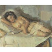 JOSÉ CRUZ HERRERA (1890-1972) - NU FÉMININ ALLONGÉ - Huile sur toile - Signée [...]