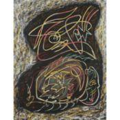 ANDRÉ MASSON (1896-1987) - GERMINATION COSMIQUE, 1955 - Pastel et collage sur [...]