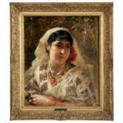 ƒ FREDERICK ARTHUR BRIDGMAN (1847-1928) - DAME ROUMAINE EN BLOUSE, 1882 - Huile [...]