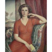 PAUL-THÉOPHILE ROBERT (1879-1953) - PORTRAIT DE FEMME À LA ROBE ROUGE, 1944 - [...]