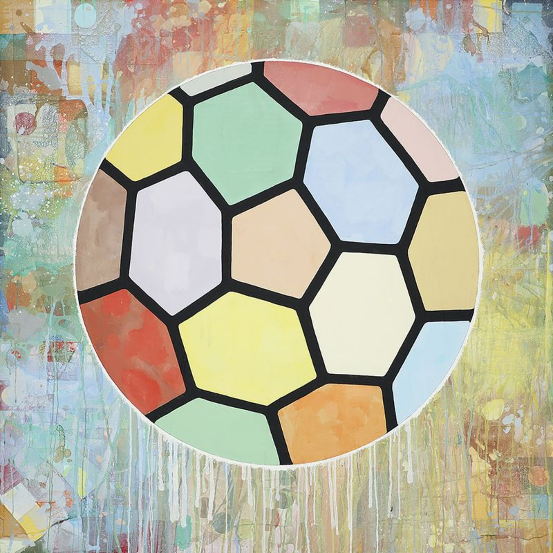 Donald Baechler (né en 1956) - Colorfull Ball, 2010 - Acrylique et collage sur [...]