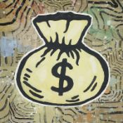 Donald Baechler (né en 1956) - Money Bag, 2008 - Acrylique et collage sur toile - [...]