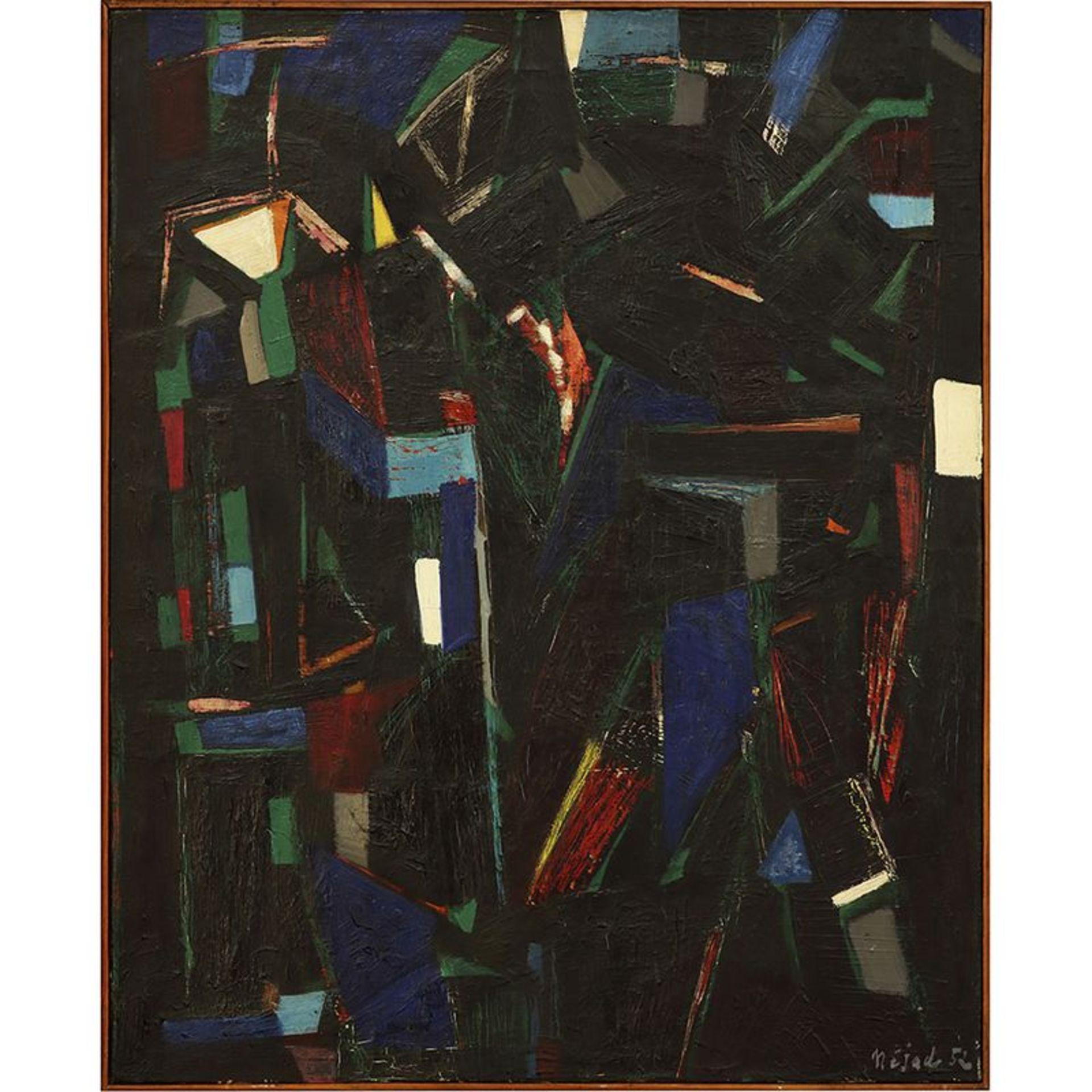 NEJAD (Nejad Melih Devrim, dit) (1923-1995) - Noire ultime, 1952 - Huile sur toile [...]